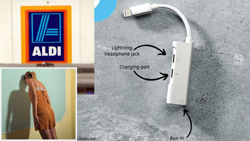 Aldi's $9.99 lightning adaptor, with an Aldi log on top left inset and a woman leaning against a wall on bottom left.