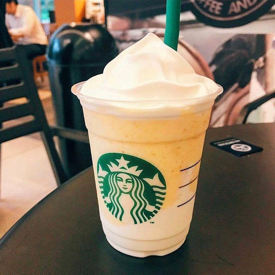 <p>This ultra smooth Frappuccino is a mixture of lime-based custard sauce and smooth yogurt. It's blended with butter cookie crumbs and topped with whipped cream! It's key lime pie in drink form.</p>