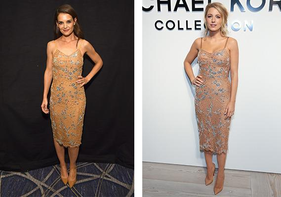 <p>Nine months after Blake Lively slayed in this nude Michael Kors dress at the designer's AW16 New York Fashion Week show, Katie Holmes stepped out in the exact same ensemble. A great pick for both ladies, don't you agree?<i> [Photo: Getty]</i></p>