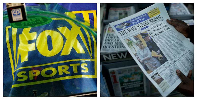 FILE- This combination of Associated Press file photos show a Fox Sports logo, left, and a person holding a copy of a Wall Street Journal, right. Under pressure to limit contagion from the British phone hacking scandal, Rupert Murdoch's News Corp. confirmed Tuesday, June 26, 2012, that it is considering splitting into two publicly traded companies. The Wall Street Journal, News Corp.'s flagship newspaper, reported late Monday that the company is considering the separation of the newspaper and book publishing businesses from the entertainment arm, which includes Fox News Channel, broadcast TV network and 20th Century Fox movie studio. The media conglomerate did not specify Tuesday which businesses each company would contain. (AP Photo/Ross D. Franklin, Matt Dunham, File)