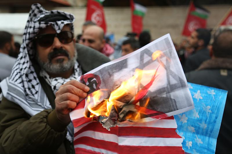 Palestinians launched weeks of protests against Trump's decision to move the U.S. Embassy from Tel Aviv to Jerusalem. (Majdi Fathi/NurPhoto via Getty Images)