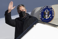 United States Secretary of State Antony Blinken as he disembarks from his airplane upon arrival at Keflavik Air Base in Iceland, May 17, 2021, his second stop on a 5-day European tour. (Saul Loeb/Pool Photo via AP)