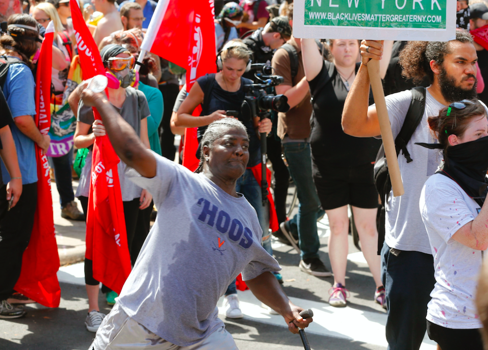 <em>Counter-protestors took to the streets to stand against the white supremacists (PA)</em>