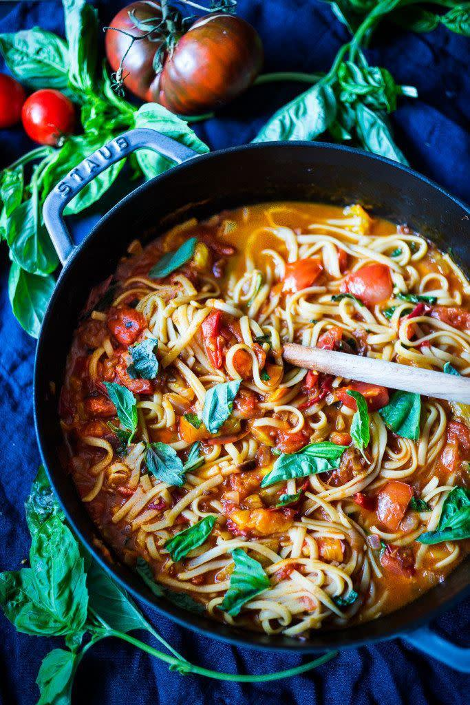 """<strong>Get the <a href=""""http://www.feastingathome.com/spaghetti-with-fresh-tomato-sauce/"""" rel=""""nofollow noopener"""" target=""""_blank"""" data-ylk=""""slk:Spaghetti With Fresh Tomato Sauce recipe"""" class=""""link rapid-noclick-resp"""">Spaghetti With Fresh Tomato Sauce recipe</a>&nbsp;from Feasting at Home</strong>"""