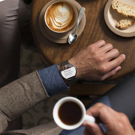 A Moto 360 smartwatch is seen in this Motorola Mobility LLC handout image released to Reuters on March 18, 2014. REUTERS/Motorola Mobility, LLC/Handout via Reuters
