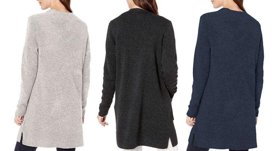 Amazon Essentials Long-Sleeve Jersey Stitch Open-Front Sweater (Photo: Amazon)