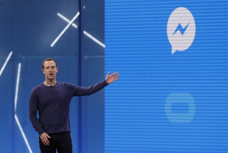 Facebook CEO Mark Zuckerberg speaks about Messenger at Facebook's F8 conference in California, May 1, 2018: REUTERS