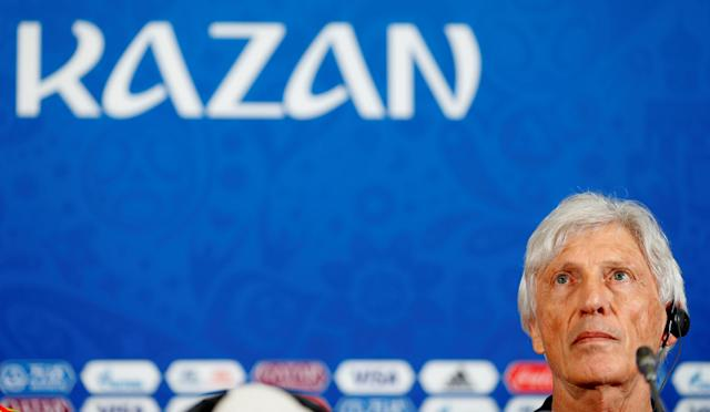 Soccer Football - World Cup - Colombia Press Conference - Kazan Arena, Kazan, Russia - June 23, 2018 Colombia coach Jose Pekerman during the press conference REUTERS/John Sibley