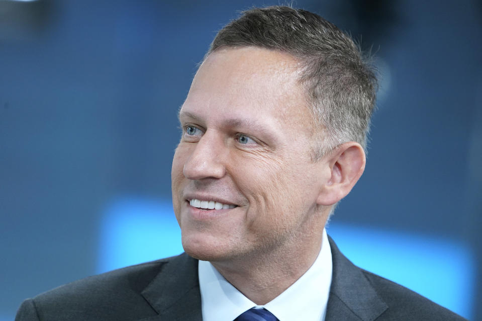 """NEW YORK, NEW YORK - AUGUST 09: Entrepreneur and venture capitalist Peter Thiel visits """"FOX & Friends"""" at Fox News Channel Studios on August 09, 2019 in New York City. (Photo by John Lamparski/Getty Images)"""