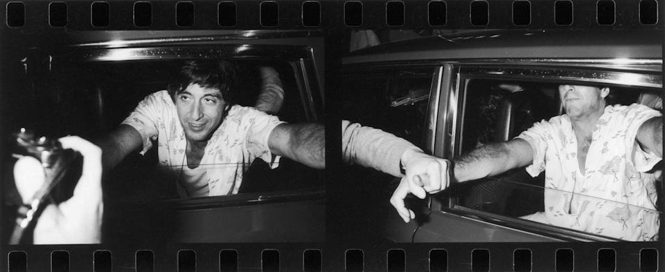 <p>Al Pacino makes contact with his fans through a car window, during a visit to London, 1984. </p>