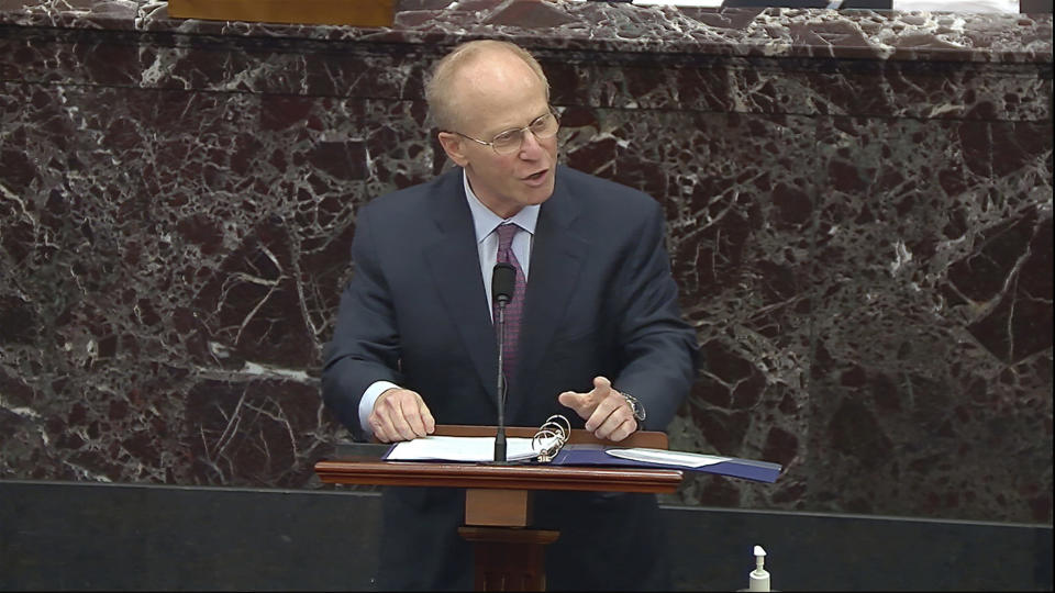 In this image from video, David Schoen, an attorney for former President Donald Trump, speaks during the second impeachment trial of Trump in the Senate at the U.S. Capitol in Washington, Tuesday, Feb. 9, 2021. (Senate Television via AP)