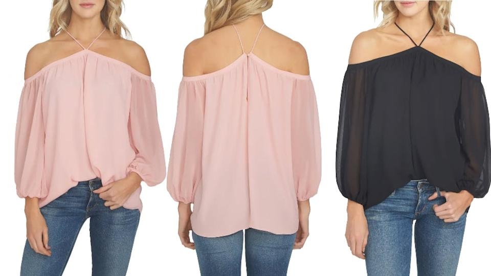 This sheer off the shoulder blouse is available in three different colours and is majorly marked down right now. (Image via Nordstrom)
