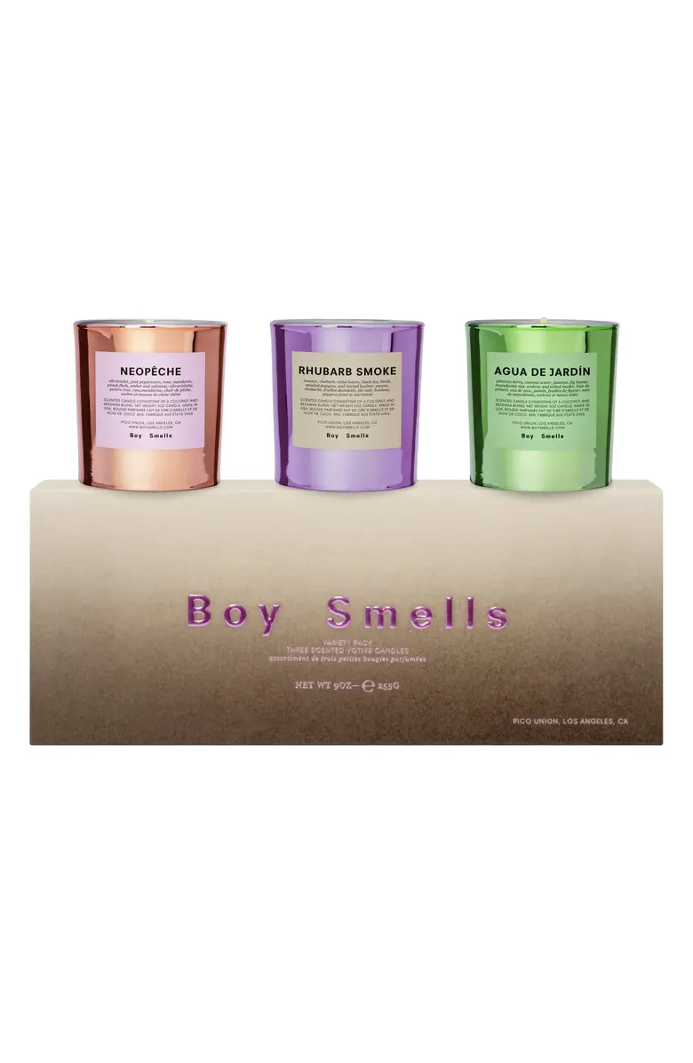 "Take your pick.<br><br><strong>Boy Smells</strong> Hypernature 3-Pack Votive Candle Set, $, available at <a href=""https://go.skimresources.com/?id=30283X879131&url=https%3A%2F%2Fwww.nordstrom.com%2Fs%2Fboy-smells-hypernature-3-pack-votive-candle-set%2F5746872%3Forigin%3Dcoordinating-5746872-0-3-PDP_1_OOS-recbot-also_viewed_graph%26recs_placement%3DPDP_1_OOS%26recs_strategy%3Dalso_viewed_graph%26recs_source%3Drecbot%26recs_page_type%3Dproduct%26recs_seed%3D4798000%26color%3DMULTI"" rel=""nofollow noopener"" target=""_blank"" data-ylk=""slk:Nordstrom"" class=""link rapid-noclick-resp"">Nordstrom</a>"