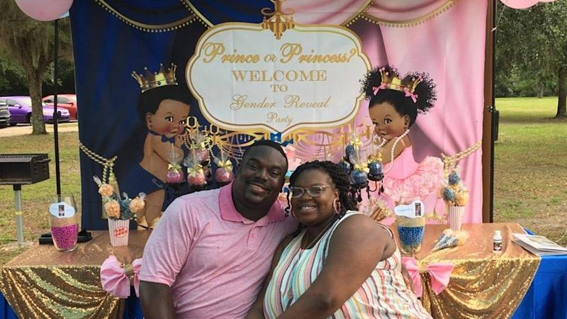 Isaac and Ranae Byrd at a gender reveal party in June