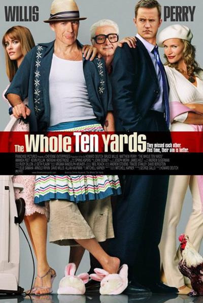<p><b>The Whole Ten Yards (2004)</b> <br> <b>What went wrong:</b> A classic bad poster here - everything about it is just not quite right. A few lowlights: Bruce Willis' weirdly taut face and spindly ankles; Matthew Perry's head - which is too small for his body - and worst of all; Kevin Pollack's creepy dismembered hands that we're fairly sure don't belong to the actor. Also, what's with the chicken?</p>