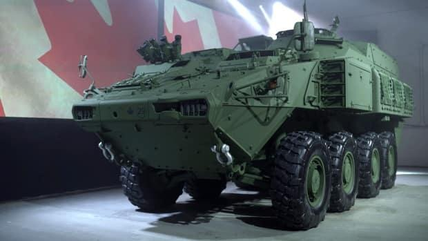 Six tires for a light armoured vehicle (LAV) were stolen from a ditch on Highway 1 last month. (Submitted  - image credit)