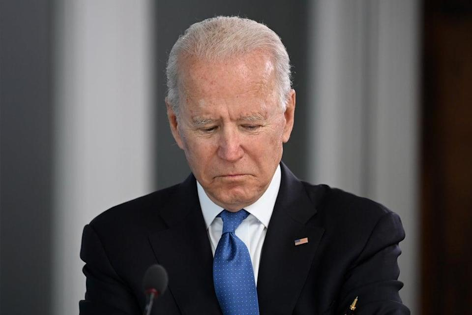 """Mr Biden said the US was """"on pace"""" to meet the deadline for evacuations (Leon Neal/PA) (PA Wire)"""