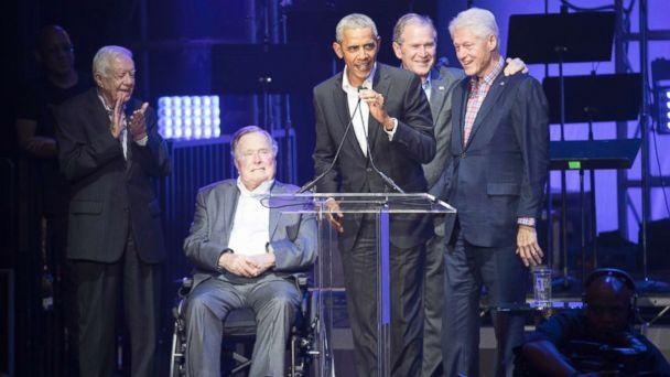 PHOTO: Former Presidents Jimmy Carter, George H.W. Bush, Barack Obama, George W. Bush and Bill Clinton attend a concert at Texas A&M University benefiting hurricane relief efforts in College Station, Texas, Oct. 21, 2017. (Bob Daemmrich/Polaris)