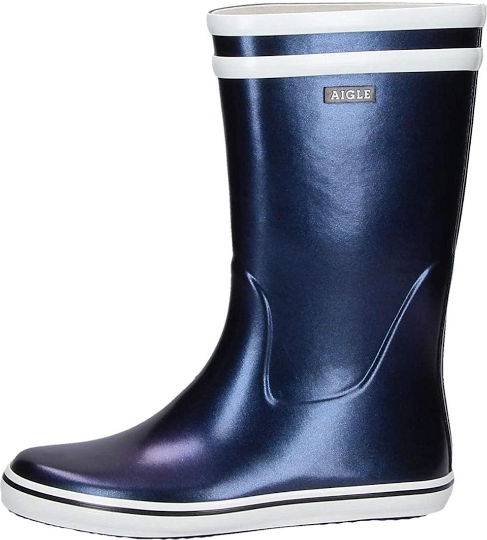 "<br><br><strong>Aigle</strong> Malouine Wellington Boots, $, available at <a href=""https://www.amazon.com/Aigle-Malouine-Boots-Marine-Multicoloured/dp/B08FD6WC62/"" rel=""nofollow noopener"" target=""_blank"" data-ylk=""slk:Amazon"" class=""link rapid-noclick-resp"">Amazon</a>"