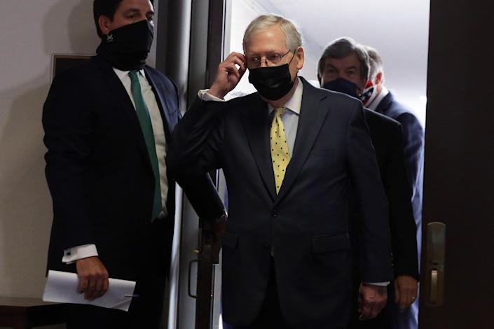 WASHINGTON, DC - SEPTEMBER 09: U.S. Senate Majority Leader Mitch McConnell (R-KY) comes out of the room after the weekly Senate Republican Policy Luncheon at Hart Senate Office Building September 9, 2020 on Capitol Hill in Washington, DC. (Photo by Alex Wong/Getty Images)