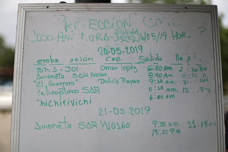 A whiteboard of the Civil Protection authority shows search operations data of the Ana Maria boat, near where Maroly Bastardo, disappeared in the Caribbean Sea, in Guiria, Venezuela, on May 23. (Photo: Ivan Alvarado/Reuters)