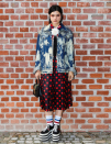 <p>Soko turned up in platform sneakers and a stand-out denim jacket. <i>[Photo: Instagram/gucci]</i> </p>