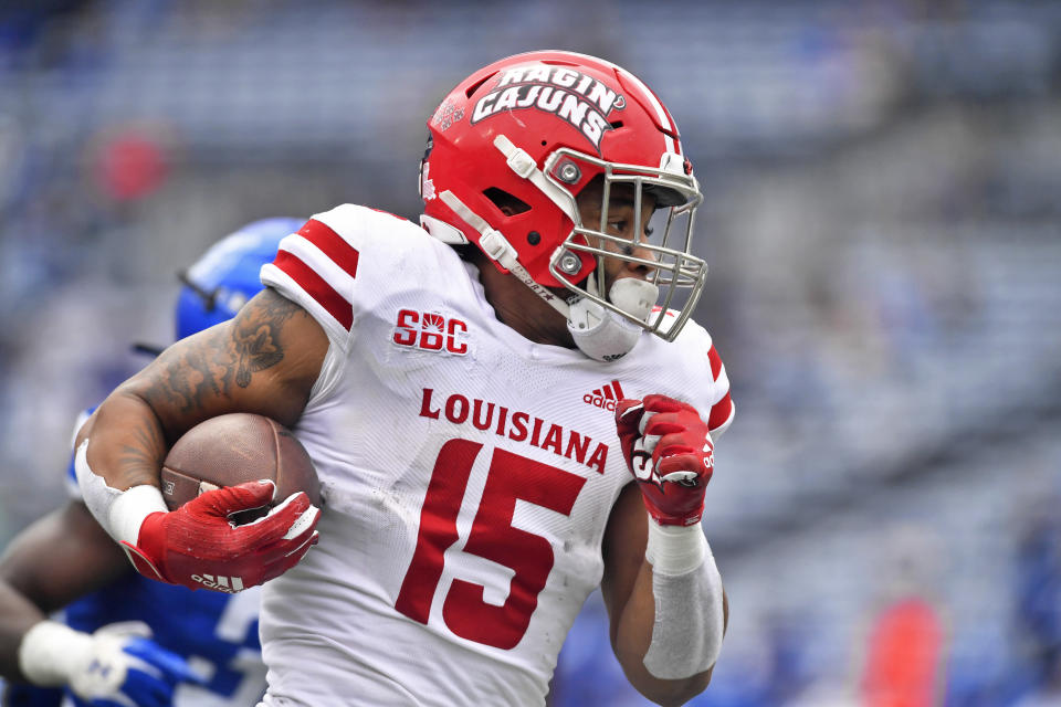 At Louisiana, Elijah Mitchell was a highly productive back despite often sharing carries. (Photo by Austin McAfee/Icon Sportswire via Getty Images)