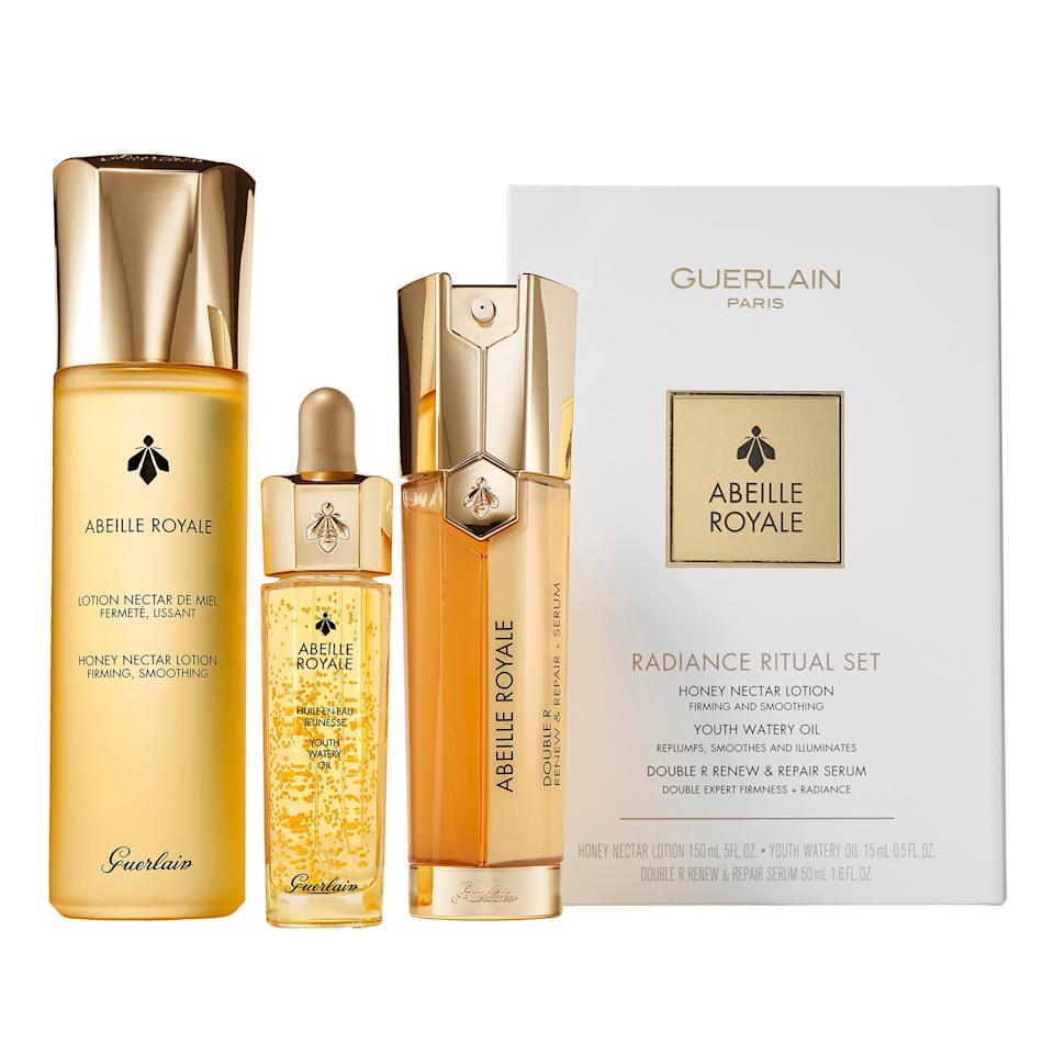 """<p>This trio, a Nordstrom exclusive, celebrates Guerlain's Abeille Royale collection and its radiance-boosting formulas with honey and royal jelly. Valued at $333 but priced $100 less, the set includes three full-size products — Abeille Royale Honey Nectar Lotion, Youth Watery Oil, and Double R Renew & Repair Serum — which are as much of a treat to use as it is to see the results.</p> <p><strong>$233</strong> (<a href=""""https://shop.nordstrom.com/s/guerlain-abeille-royale-full-size-radiant-ritual-set-333-value/5425407/lite"""" rel=""""nofollow"""">Shop Now</a>)</p>"""