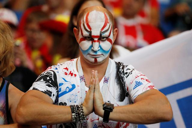 <p>Fan inside the stadium before the match REUTERS/Toru Hanai </p>