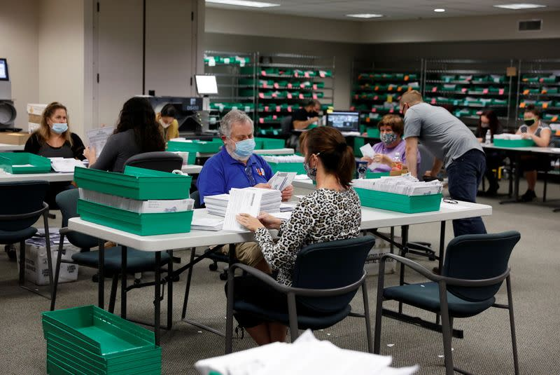 Mail-in ballots are counted in Lehigh County, Pennsylvania