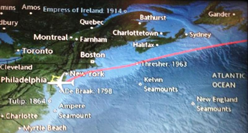 In-flight maps like this have been causing quite a stir. Source: Twitter/ Thomas Weber