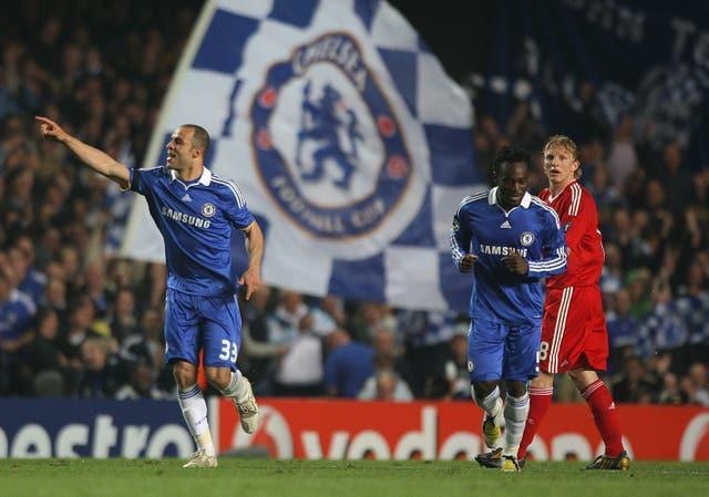 Brazilian defender Alex celebrates his goal for Chelsea after levelling the score on the night