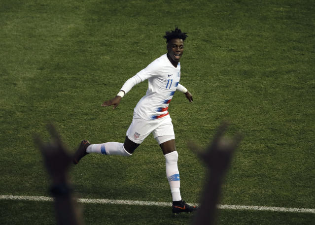 FILE - In this May 28, 2018, file photo, United States' Tim Weah reacts towards fans during an international friendly soccer match against Bolivia, in Chester, Pa. Weah, the 18-year-old son of former FIFA Player of the Year and current Liberia President George Weah, says he turned down a possible loan to remain and learn this season at Paris Saint-Germain, where he just scored his first Ligue 1 goal. (AP Photo/Matt Slocum, File)