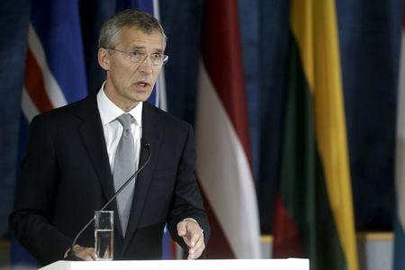 NATO Secretary General Stoltenberg speaks during a news conference after the NATO Force Integration Unit inauguration in Vilnius