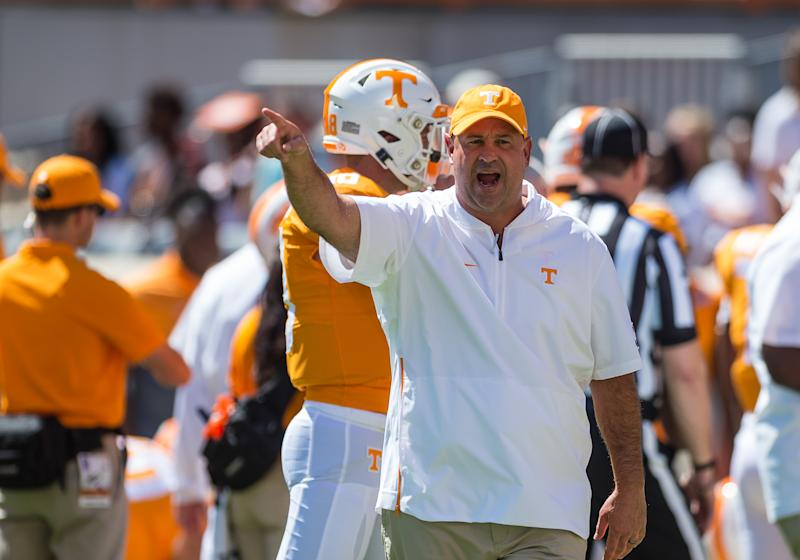 KNOXVILLE, TN - AUGUST 31: Tennessee Volunteers head coach Jeremy Pruitt coaching during a college football game between the Tennessee Volunteers and Georgia State Panthers on August 31, 2019, at Neyland Stadium in Knoxville, TN. (Photo by Bryan Lynn/Icon Sportswire via Getty Images)
