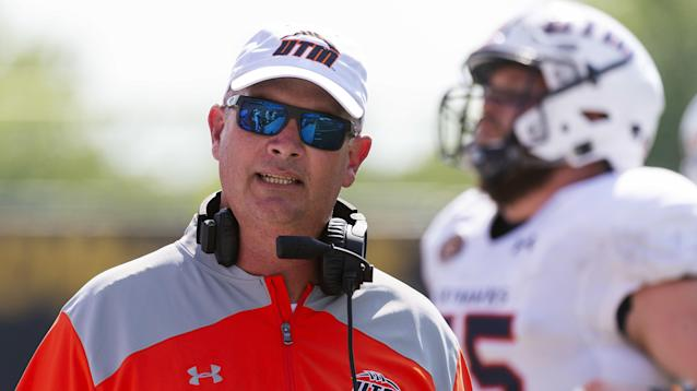 Tennessee-Martin head coach Jason Simpson walks the sideline during the first half of their 51-14 loss to Missouri in an NCAA college football game Saturday, Sept. 1, 2018, in Columbia, Mo. (AP Photo/L.G. Patterson)