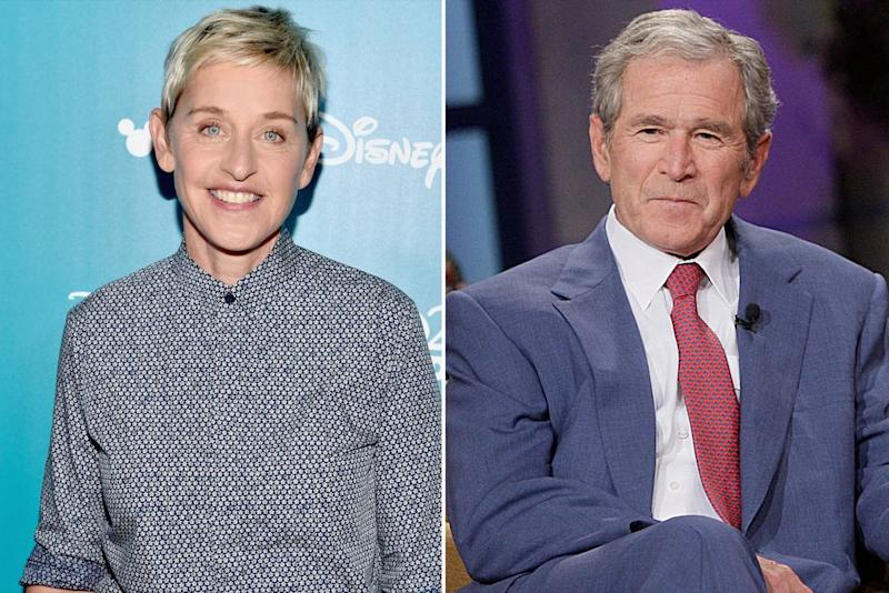 From left: Ellen DeGeneres and George W. Bush | Alberto E. Rodriguez/Getty Images; Stacie McChesney/Getty Images