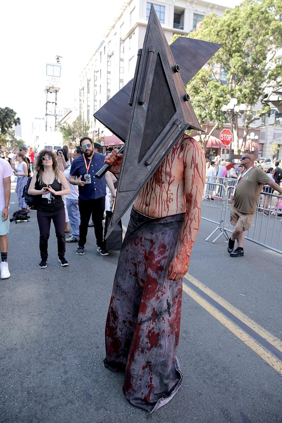 <p>Cosplayer dressed as Pyramid Head at Comic-Con International on July 20, 2018, in San Diego. (Photo: Quinn P. Smith/Getty Images) </p>