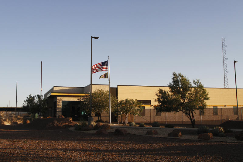 FILE - This June 20, 2019, file frame from video shows the entrance of a Border Patrol station in Clint, Texas. U.S. Customs and Border Protection has told a Texas congresswoman Monday, June 24, that the agency is quickly removing children from the patrol station following reports that children locked inside were in a perilous situation. (AP Photo/Cedar Attanasio, File)