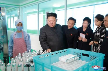 FILE PHOTO: North Korean leader Kim Jong Un and wife Ri Sol Ju visit a cosmetics factory in this undated photo released by North Korea's Korean Central News Agency (KCNA) in Pyongyang