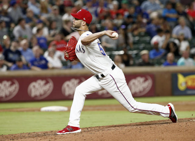 Texas Rangers pitcher Alex Claudio (58) throws against the Tampa Bay Rays during the seventh inning of a baseball game Wednesday, Sept. 18, 2018, in Arlington, Texas. (AP Photo/Mike Stone)