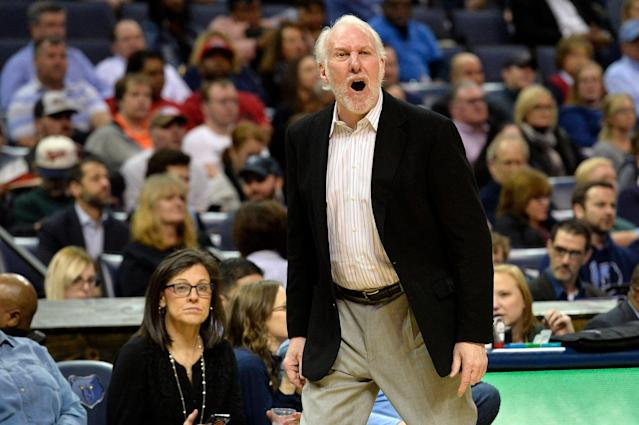 Gregg Popovich has never been shy about letting the refs know how he feels. (AP Photo/Brandon Dill)