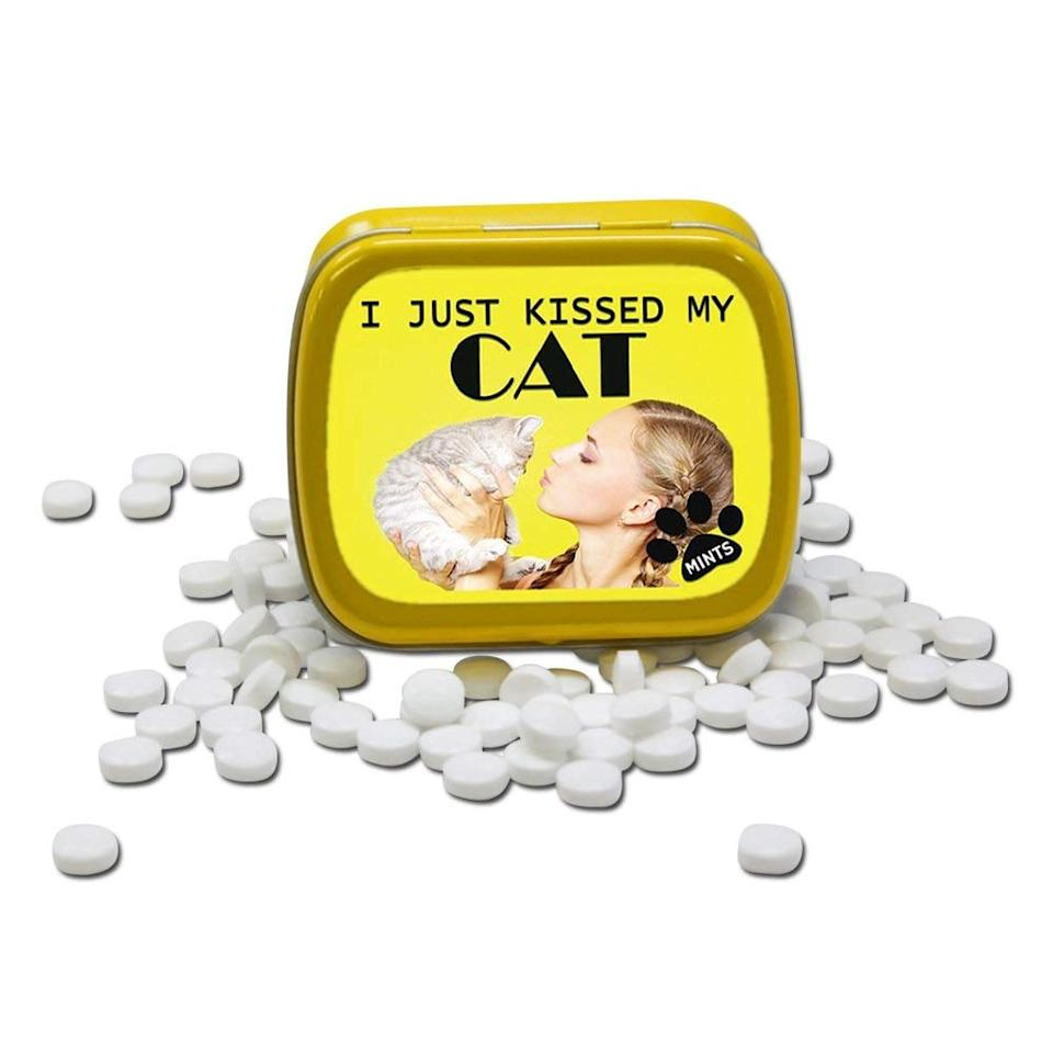 """<p>These <a href=""""https://www.popsugar.com/buy/I-Just-Kissed-My-Cat-Mints-394525?p_name=I%20Just%20Kissed%20My%20Cat%20Mints&retailer=amazon.com&pid=394525&price=5&evar1=moms%3Aus&evar9=44346159&evar98=https%3A%2F%2Fwww.popsugar.com%2Fphoto-gallery%2F44346159%2Fimage%2F45551664%2FI-Just-Kissed-My-Cat-Mints&list1=gifts%2Camazon%2Choliday%2Chumor%2Cchristmas%2Cgift%20guide%2Cwhite%20elephant%20gifts%2Cgifts%20for%20women%2Cgifts%20for%20men%2Cgifts%20under%20%24100%2Cgifts%20under%20%2450%2Cgifts%20under%20%2475&prop13=api&pdata=1"""" rel=""""nofollow"""" data-shoppable-link=""""1"""" target=""""_blank"""" class=""""ga-track"""" data-ga-category=""""Related"""" data-ga-label=""""https://www.amazon.com/dp/B01LXE4EIV/ref=cm_gf_aWE_i05_d_p0_qd4______________________4ZQ92dYCyZUcKT2eU9tl"""" data-ga-action=""""In-Line Links"""">I Just Kissed My Cat Mints</a> ($5) are pretty funny.</p>"""