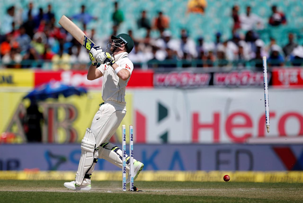 Cricket - India v Australia - Fourth Test cricket match - Himachal Pradesh Cricket Association Stadium, Dharamsala, India - 27/03/17 - Australia's captain Steven Smith is clean bowled by India's Bhuvneshwar Kumar. REUTERS/Adnan Abidi     TPX IMAGES OF THE DAY