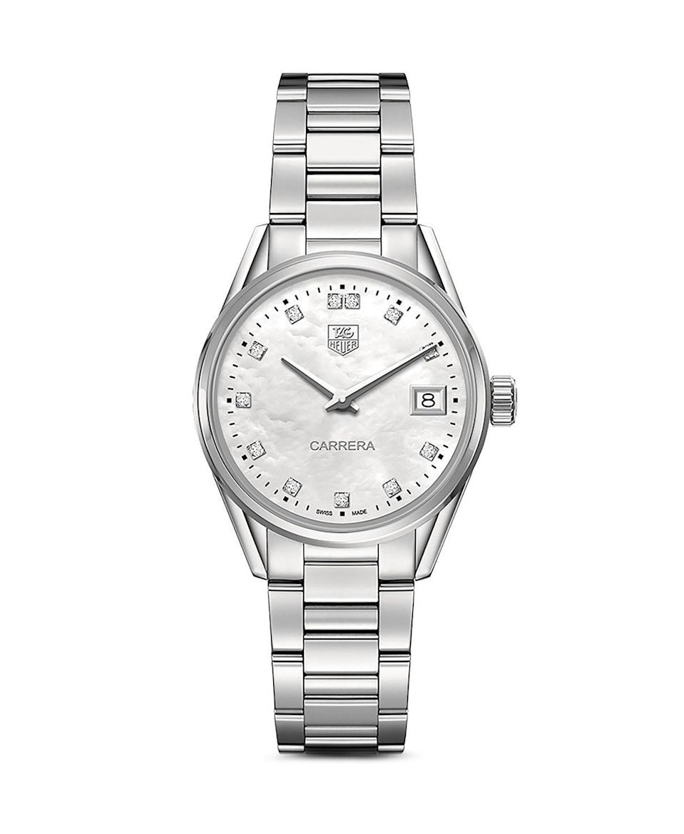 """<p><strong>Tag Heuer Carrera Stainless Steel and White Mother of Pearl Dial Watch with Diamonds</strong></p><p>bloomingdales.com</p><p><strong>$2300.00</strong></p><p><a href=""""https://go.redirectingat.com?id=74968X1596630&url=https%3A%2F%2Fwww.bloomingdales.com%2Fshop%2Fproduct%2Ftag-heuer-carrera-stainless-steel-white-mother-of-pearl-dial-watch-with-diamonds-32mm%3FID%3D1169161&sref=https%3A%2F%2Fwww.harpersbazaar.com%2Ffashion%2Ftrends%2Fg30515430%2Fbest-watch-brands-for-women%2F"""" rel=""""nofollow noopener"""" target=""""_blank"""" data-ylk=""""slk:Shop Now"""" class=""""link rapid-noclick-resp"""">Shop Now</a></p><p>Founded in 1860 by Édouard Heuer, Tag Heuer has built its brand based on a sporty, active lifestyle. It patented the oscillating pinion in 1887, revolutionizing chronographs (a.k.a. designs with a stopwatch), allowing for accuracy in tracking time. It continued down the path of innovation with a patent for a water-resistant case. Later, the company would produce time-measuring instruments for automobiles, boats, and aircrafts. </p><p>Then in 1912, it debuted its first line of women's watches, which were thin and jewelry-like in design. It was not until 1963, with the launch of the Carrera collection—which was named after the Carrera Panamericana, a sports car racing event—that its women's offerings began to gel better with Tag Heuer's bold and sleek reputation. </p>"""