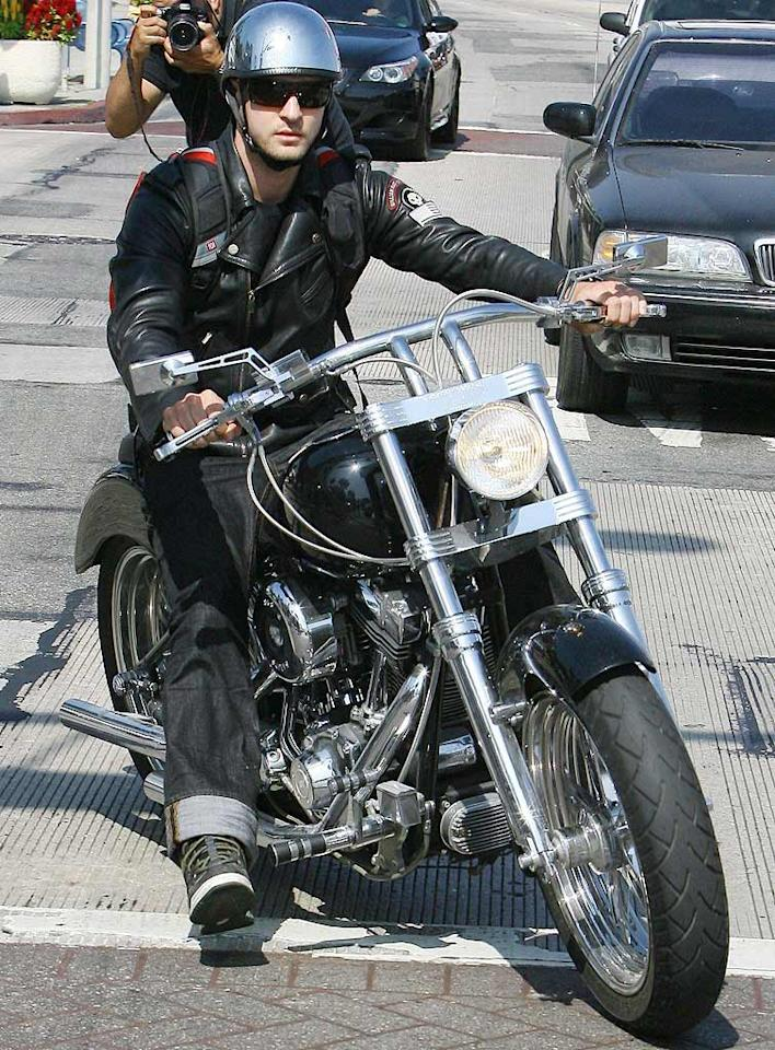 """Justin Timberlake in a leather jacket and jeans riding a Harley ... hot or not? Ice/<a href=""""http://www.x17online.com"""" target=""""new"""">X17 Online</a> - August 13, 2009"""