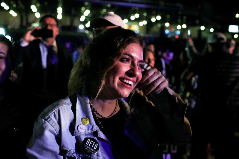 Supporter of Democratic U.S. Senate candidate Rep. Beto O'Rourke cries as he concedes at his election night party in El Paso, Texas