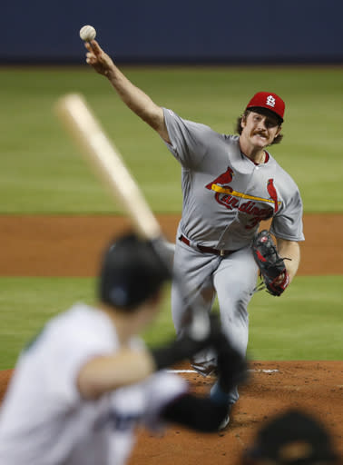 St. Louis Cardinals' Miles Mikolas pitches to Miami Marlins' Brian Anderson during the first inning of a baseball game Wednesday, June 12, 2019, in Miami. (AP Photo/Wilfredo Lee)