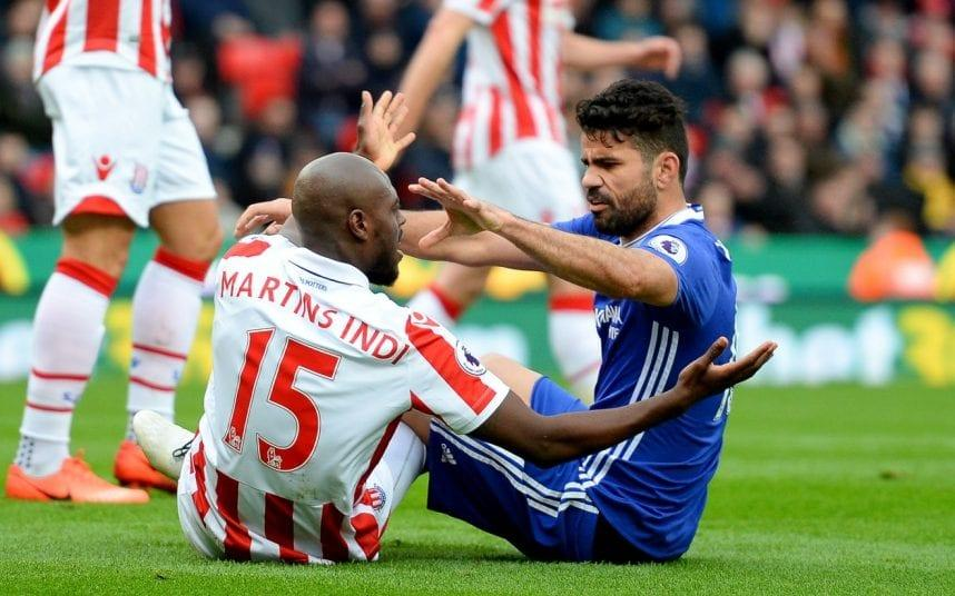 Costa was given a rough ride by Stoke's back line