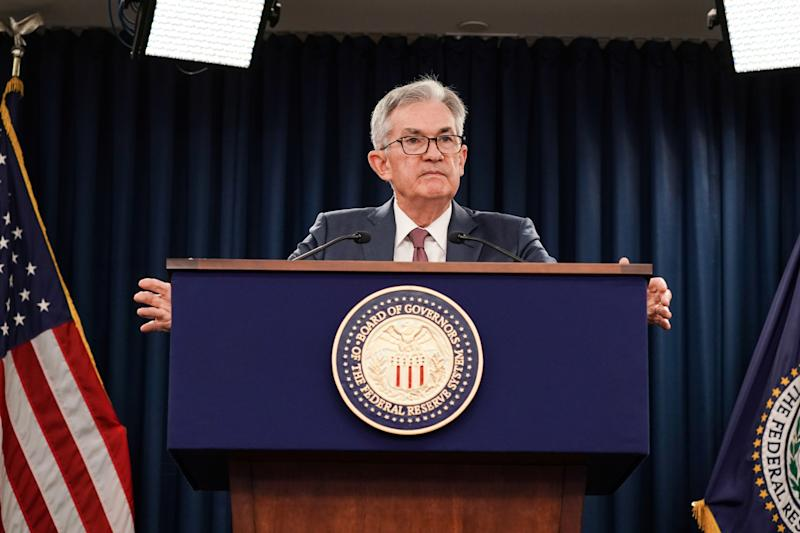 Federal Reserve Chair Jerome Powell holds a news conference following the Oct. 29-30 Federal Open Market Committee meeting in Washington, U.S., October 30, 2019. REUTERS/Sarah Silbiger